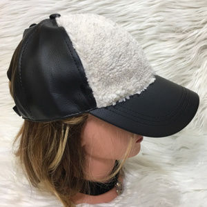 Faux Sherpa & Black Vegan Leather Baseball Cap